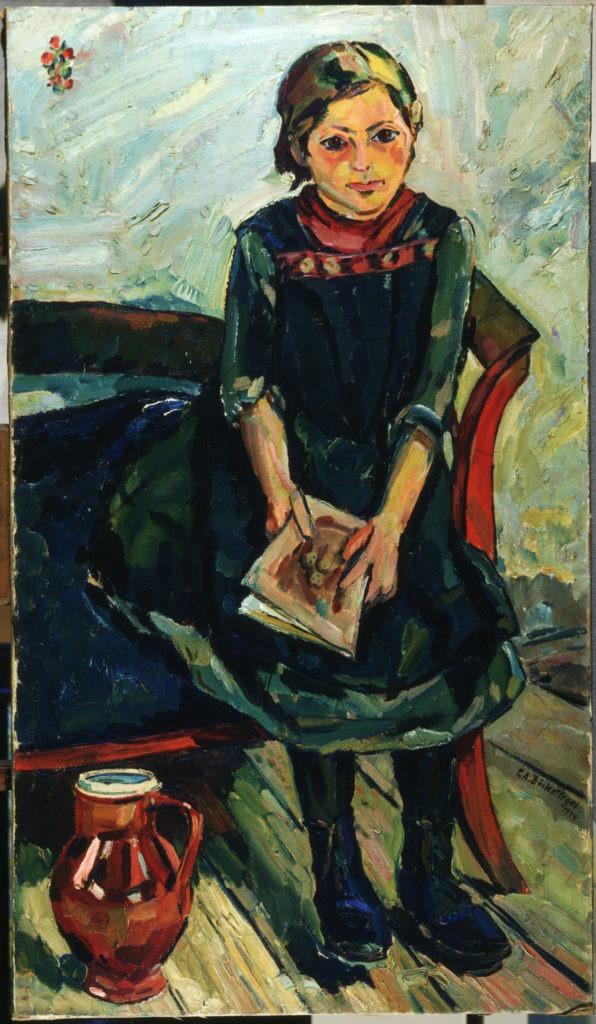 """Peter August Böckstiegel, """"Sitzendes Mädchen"""", 1914, Öl auf LW"""